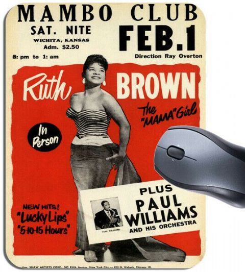 Ruth Brown Concert Poster Mouse Mat Mambo Club R&B Singer High Quality Mouse Pad